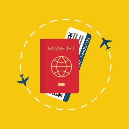 Passport with ticket, travel around the world concept, vector, illustration.