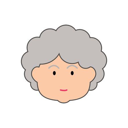 Grandma cartoon icon, funny illustration of old woman cartoon, character, vector, illustration.