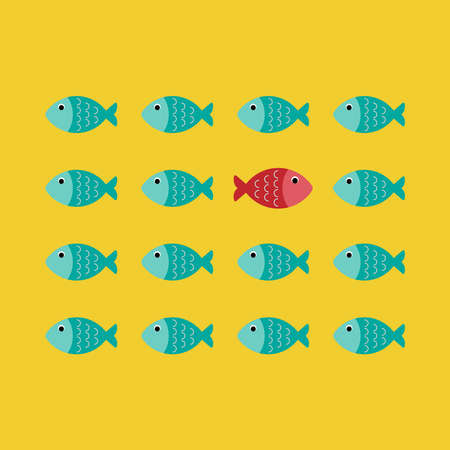 Think different concept, one red unique different fish swimming opposite way of identical blue ones, vector, illustration.