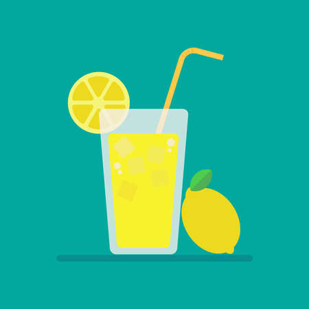 Fresh lemonade icon, lemon juice in glass with slice of lemon, vector, illustration. Ilustrace