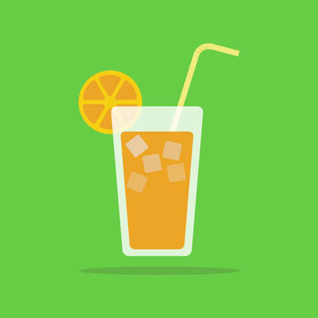 Fresh orange juice icon, orange juice in glass with straw, vector, illustration. Ilustrace