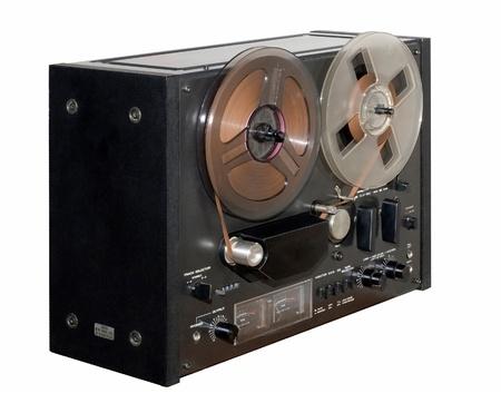 黒の古いリール テープ レコーダー 写真素材