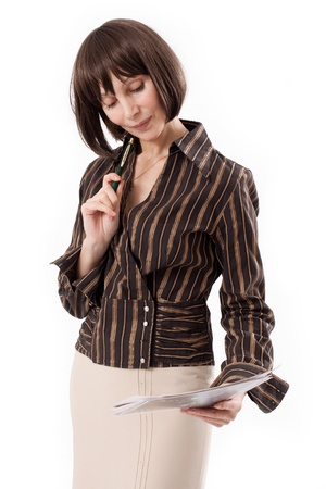 considers: businesswoman considers documents