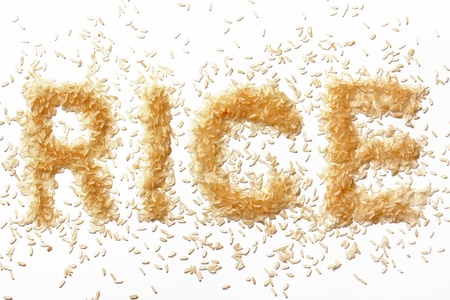 grains of rice in the form of inscriptions photo
