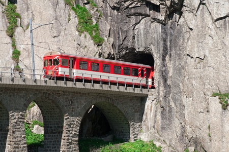 movement of the train tunnel on Teufelsbrucke.Andermatt Stock Photo