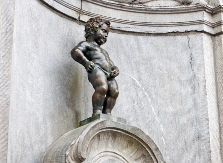 Famous statue of The Manneken Pis, Brussels, Belgium Stock Photo