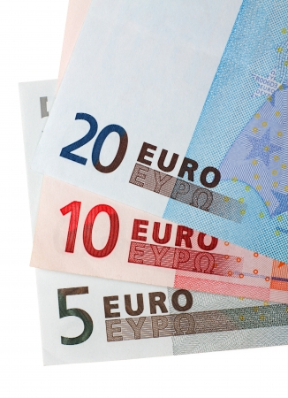 Euro banknotes money background white Stock Photo