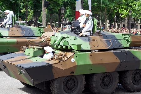 PARIS - JULY 14: Military equipment at a military parade in the Republic Day on the Champs Elysees in Paris,  July 14, 2012. Bastille Day
