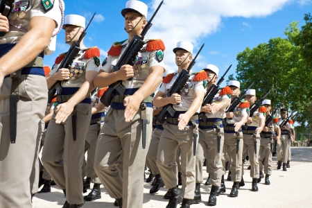 NIMES, FRANCE - JULY 2: French Foreign Legion 2nd Foreign Infantry Regiment at inauguration ceremony at Pont du Gard aqueduct. Nimes, Gard department, France. July 2, 2012