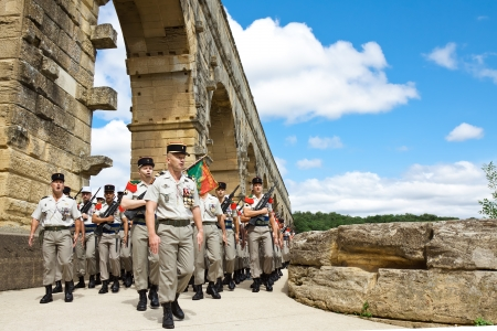 legion: NIMES, FRANCE - JULY 2: French Foreign Legion 2nd Foreign Infantry Regiment at inauguration ceremony at Pont du Gard aqueduct. Nimes, Gard department, France. July 2, 2012