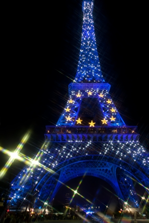 PARIS - SEPTEMBER 22: France held presidency of Europena Union in 2009. Eiffel tower is decorated with european stars. September 22, 2008, Paris, France. Editorial