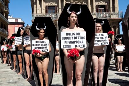 パンプローナ、スペイン - 7 月 5 日サンフェルミン祭プラザ市町村パンプローナ、ナバラ、スペイン 2013 年 7 月 5 日の前に動物虐待に抗議の人々