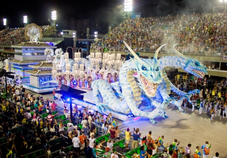RIO DE JANEIRO - FEBRUARY 11: Show with decorations of dragons on carnival Sambodromo in Rio de Janeiro February 11, 2013, Brazil. The Rio Carnival is biggest carnival in world.
