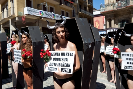 savagery: PAMPLONA, SPAIN - JULY 5  People protesting against cruelty to animals at San Fermin festival  Plaza Consistorial in front of municipality  Pamplona, Navarra, Spain July 5, 2013
