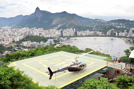 helicopter pad: helicopter on landing pad Rio de Janeiro