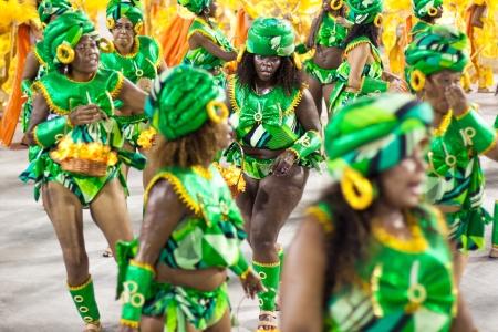 RIO DE JANEIRO - FEBRUARY 10: A womans in costume dancing on carnival at Sambodromo in Rio de Janeiro February 10, 2013, Brazil. The Rio Carnival is biggest carnival in world.
