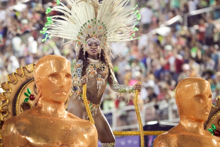 RIO DE JANEIRO - FEBRUARY 10: A woman in costume dancing on carnival at Sambodromo in Rio de Janeiro February 10, 2013, Brazil. The Rio Carnival is biggest carnival in world.
