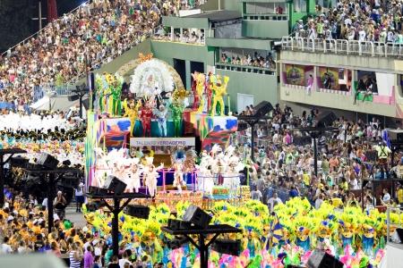 RIO DE JANEIRO - FEBRUARY 10: Show with decorations on carnival Sambodromo in Rio de Janeiro February 10, 2013, Brazil. The Rio Carnival is biggest carnival in world.