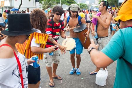 uto: RIO DE JANEIRO - FEBRUARY 11: Street musicians to free peoples carnival in Rio de Janeiro February 11, 2013, Brazil. Av. Vieira Соuto along Ipanema Beach Editorial
