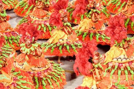 リオデジャネイロ - 2 月 11 日: 2013 年 2 月 11 日、ブラジル カーニバル リオデジャネイロでサンボードロモのダンスの衣装の梨花。リオのカーニバルは、世界で最大のカーニバルです。