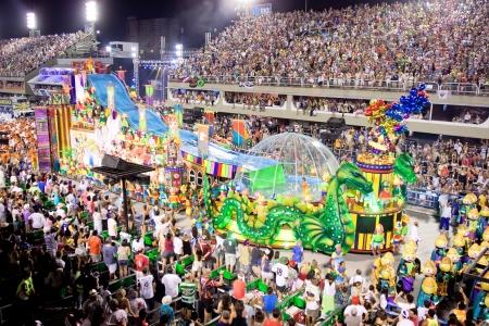 RIO DE JANEIRO - FEBRUARY 11: Show with decorations on carnival Sambodromo in Rio de Janeiro February 11, 2013, Brazil. The Rio Carnival is biggest carnival in world.