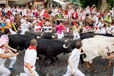 2013 年 7 月 10 日にスペイン、パンプローナのサンフェルミン祭の間に通りで牛から実行パンプローナ、スペイン-7 月 10: 人