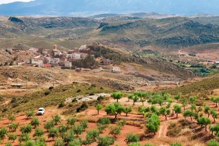 サラゴサ県、アラゴン、スペインで Tierga の村