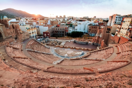 the romans: Roman amphitheater in Cartagena, Spain