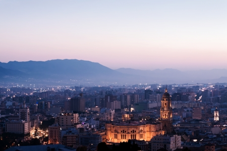 View over Malaga at evening Andalusia Spain photo