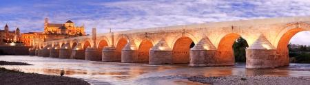 ローマ橋、グアダルキビル川、グレート モスク、コルドバ、スペイン