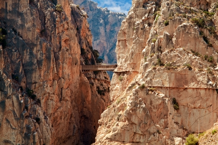 malaga: Royal Trail (El Caminito del Rey) in gorge Chorro, Malaga province, Spain Stock Photo
