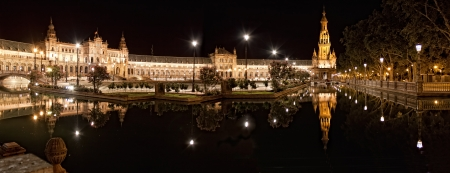 Spanish Square (Plaza de Espana) in Sevilla at night, Spain. Editorial