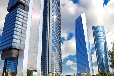 MADRID, SPAIN - AUGUST 29: Skyscrapers Cuatro Torres Business Area in Madrid, Spain, 2013.Business district operates since 2008