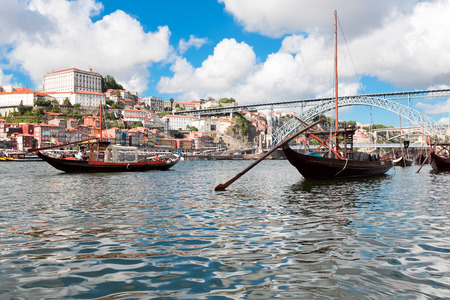 rabelo: Rabelo boats in Porto, Portugal Editorial