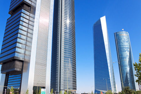cuatro: MADRID, SPAIN - AUGUST 29: Skyscrapers Cuatro Torres Business Area in Madrid, Spain, 2013.Business district operates since 2008