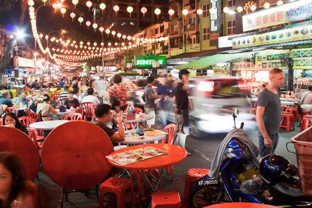 KUALA LUMPUR, MALAYSIA - JANUARY 20: Street restaurant Jalan Alor in heart of Kuala Lumpur, January 20, 2014, Malaysia. Jalan Alor is very popular with tourists and locals