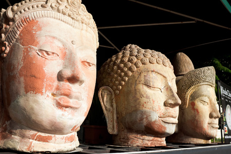 busts: Ancient busts Chinese military and civilian officials period 1300 - 1650 years Stock Photo