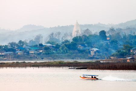 sangkhla buri: Morning on lake Vajiralongkorn, Sangkhla Buri, province Kanchanaburi, Thailand