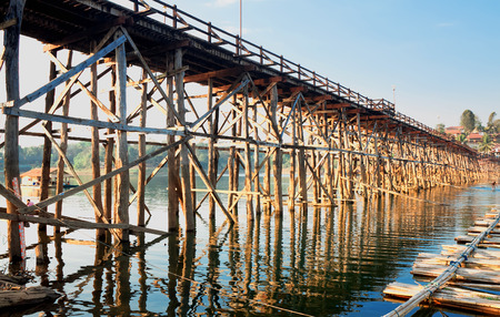 old wooden bridge Mon in Sangkhla Buri, province Kanchanaburi, Thailand photo