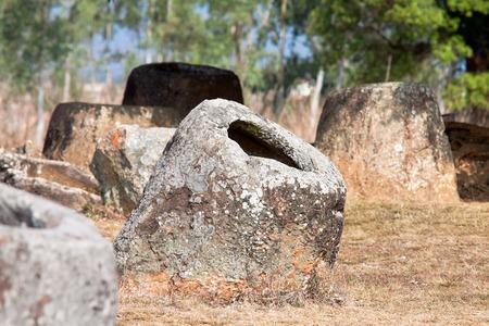 past civilizations: Valley pitchers. Phonsavan, Xiangkhouang province, Laos