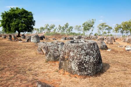 past civilization: Valley pitchers. Phonsavan, Xiangkhouang province, Laos
