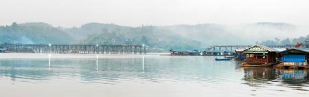 sangkhla buri: Morning. Old wooden bridge Mon in Sangkhla Buri, province Kanchanaburi, Thailand Stock Photo