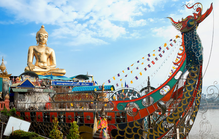 sop: Golden Buddha on Mekong river, Sop Ruak, Thailand