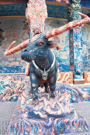 NAKHONRATCHASIMA PROVINCE, THAILAND - FEBRUARY 20: Sculpture of mythical creatures in temple Ban Rai, Thailand, February 20, 2014. Temple is residence of  personal Confessor of king of Thailand