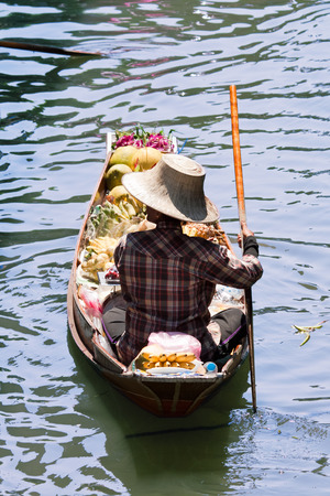 saduak: saleswoman at Floating Market Damnoen Saduak, Thailand Stock Photo