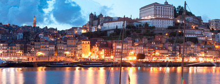 rabelo: view of old town of Porto, Portugal Stock Photo