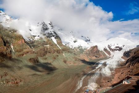 shrinking: View of Pasterze Glacier in Austrian Alps at Grossglockner, Carinthia, Austria