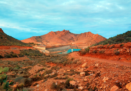 barrage: barrage Youssef Ibn Tachfin, Tinzit, Souss-Massa-Draa, Morocco Stock Photo