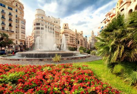 Brunnen am Hauptplatz, Valencia, Spanien Standard-Bild - 41130134