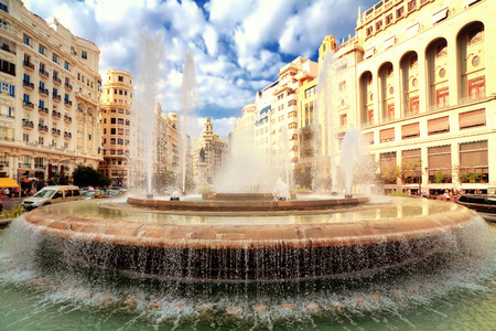 generality: Fountain in main square, Valencia, Spain Stock Photo